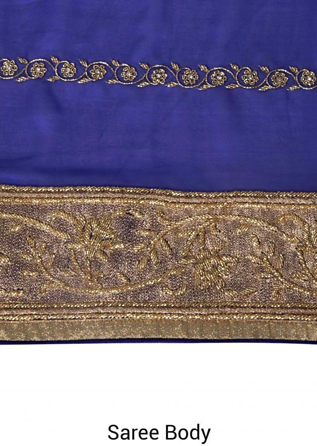 French blue shaded saree in kardana embroidery only on Kalki