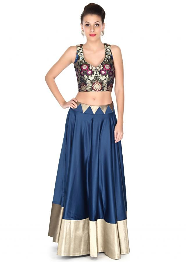 Blue skirt matched with velvet crop top only on Kalki