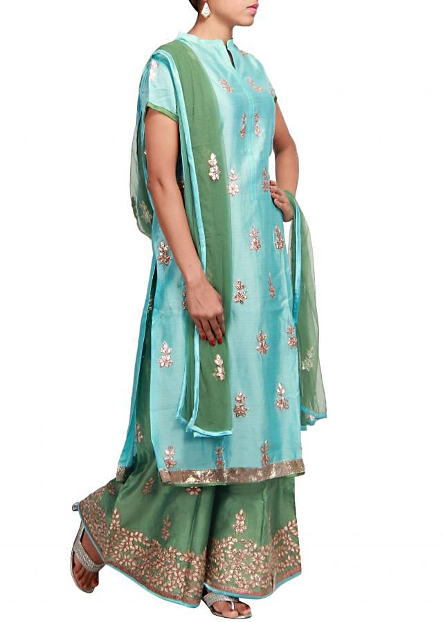 Blue straight fit suit embroidered in lurex patch work only on Kalki
