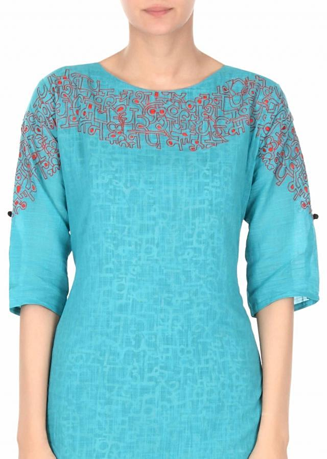 Blue straight suit adorn in resham and print only on Kalki