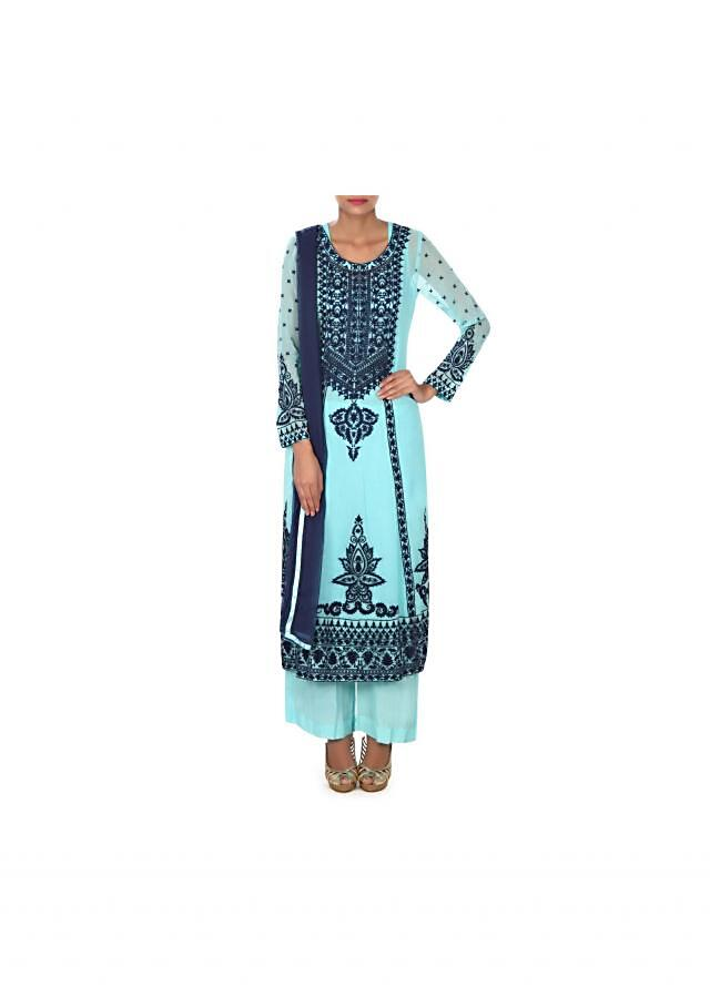 Blue straight suit adorn in thread embroidery only on Kalki