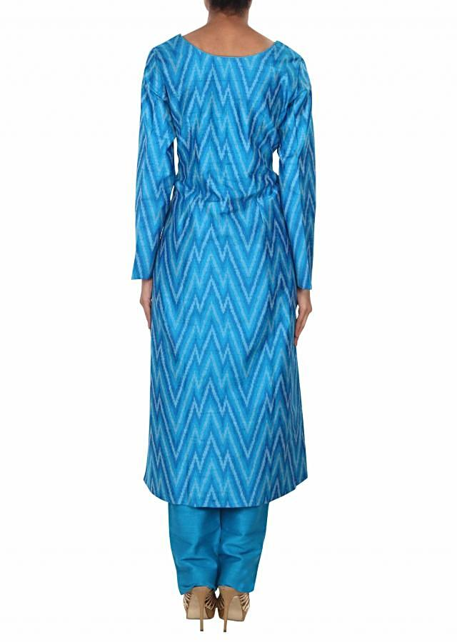 Blue straight suit adorn in resham embroidered butti only on Kalki