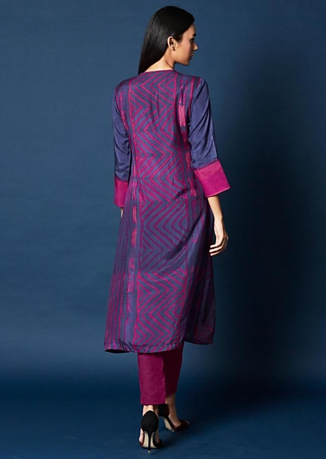 Blue Suit With Attached Printed Jacket And Embroidered Butti Online - Kalki Fashion