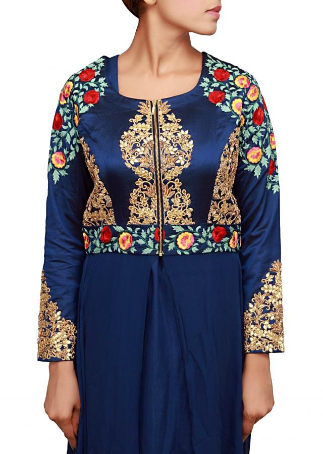 Blue suit featuring with embroidered bodice only on Kalki