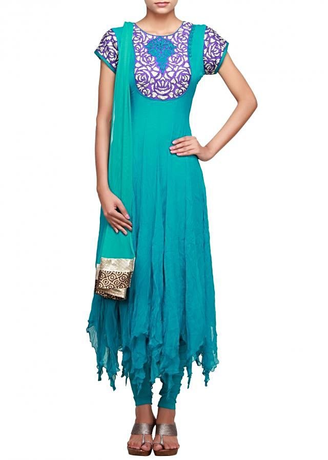 Blue suit featuring with gotta patti neckline only on Kalki
