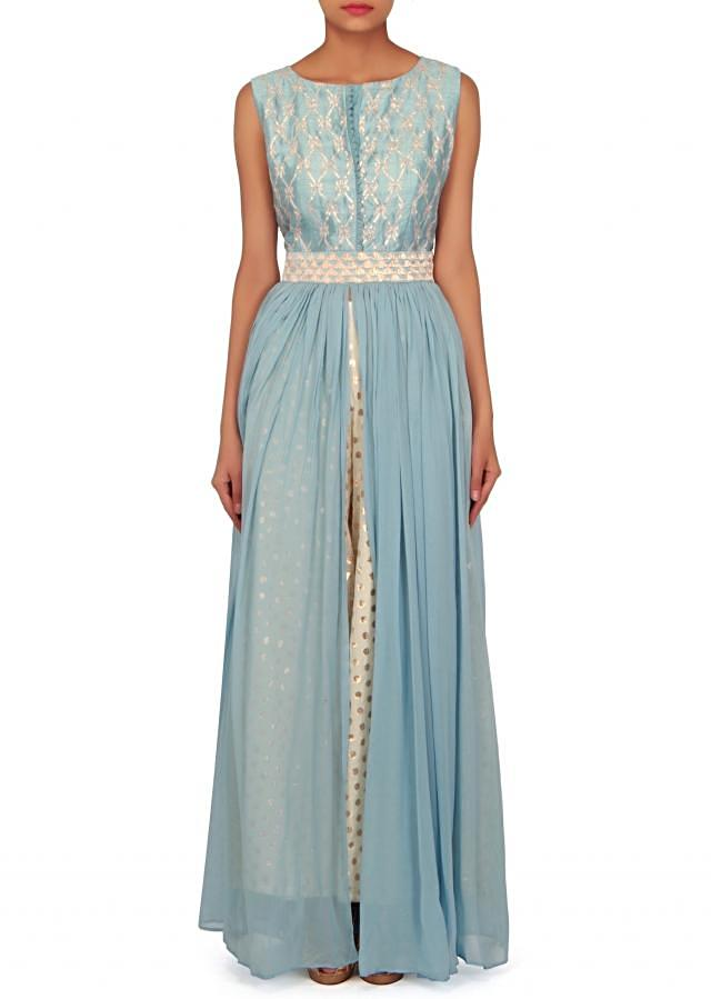 Sky blue suit in gotta patti lace with palazzo pant only on Kalki