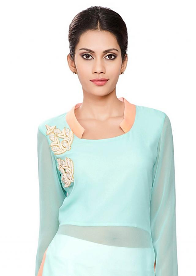 Blue tunic with cross slits and moti embroidery