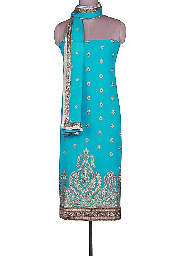 Blue unstitched suit adorn in kundan embroidery only on Kalki