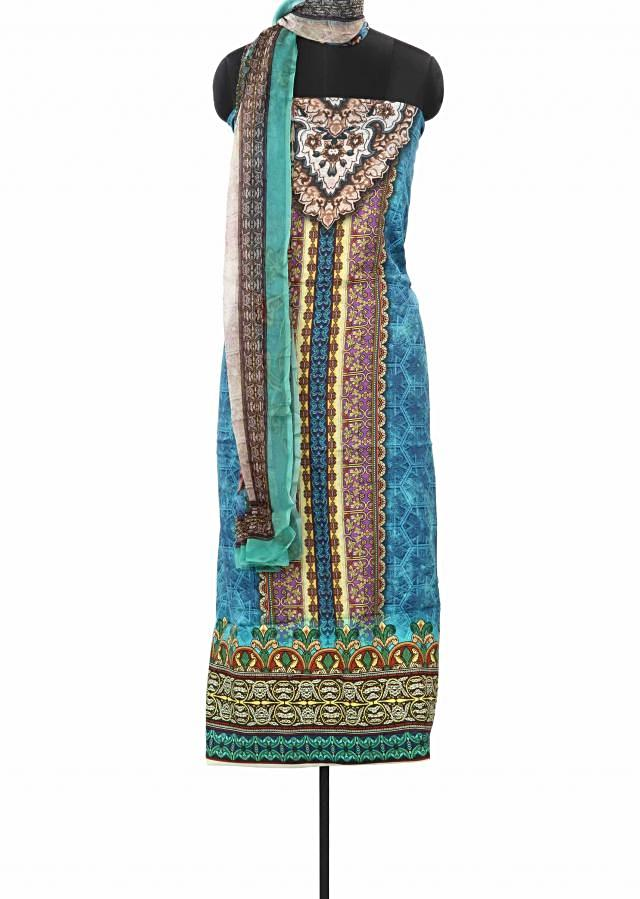 Blue unstitched suit features with traditional print only on Kalki