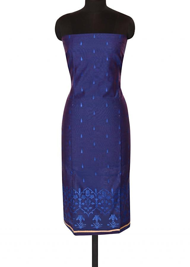 Blue unstitched suit in floral resham embroidery only on Kalki