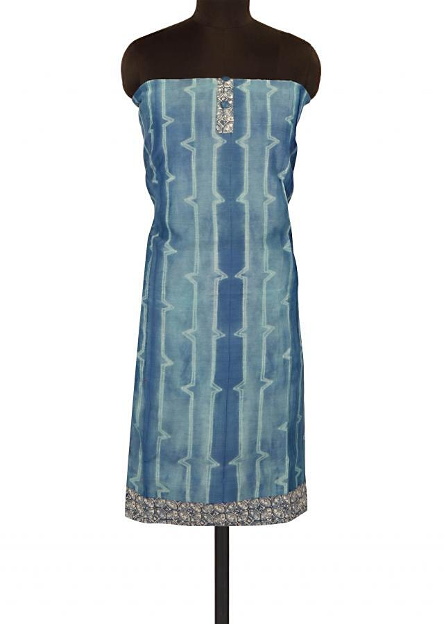Blue unstitched suit with printed placket only on Kalki