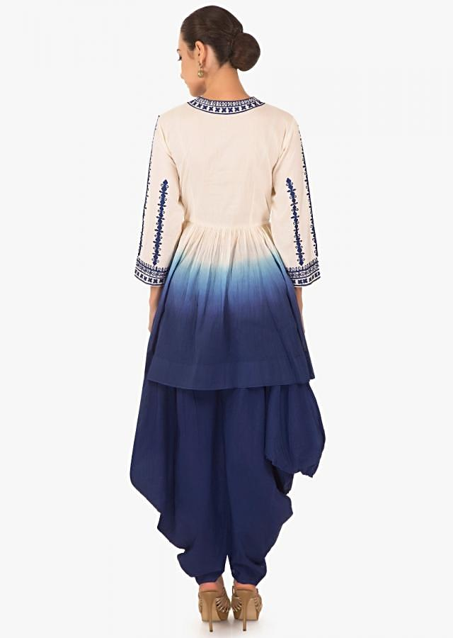 Blue white Flared short cotton  kurti with a matching blue dhoti pants  only on kalki.