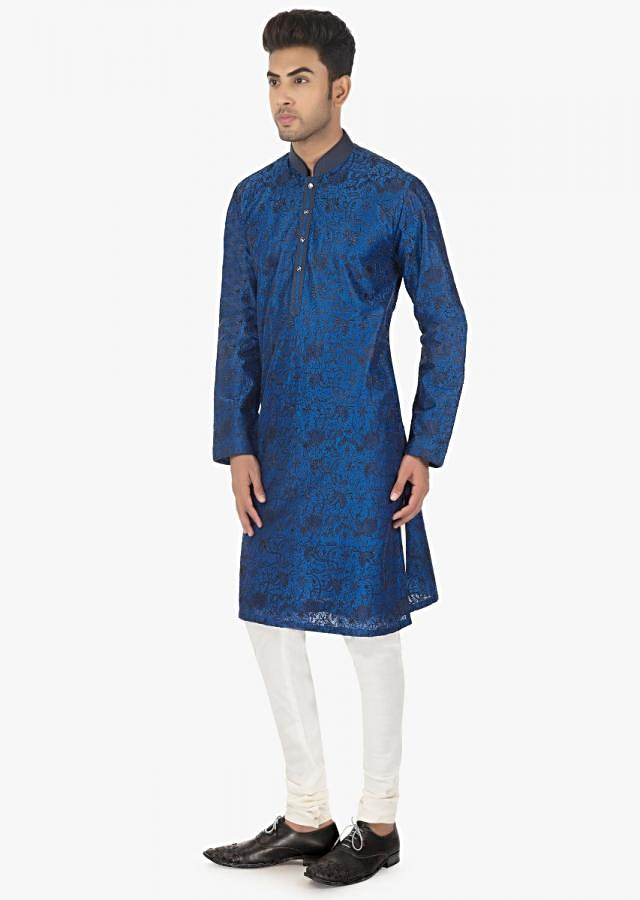 Twilight  blue silk Kurta and white PS silk chudidar set only on kalki