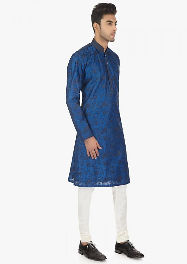 Twilight Blue Kurta In Silk And White Ps Silk Chudidar Set Online - Kalki Fashion