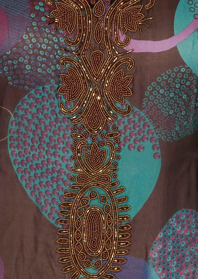 Blue and black kaftan adorn in motti and kardana embroidery only on Kalki