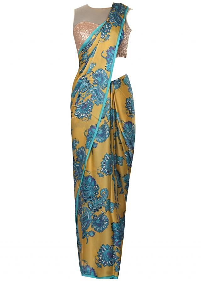 Blue and mustard saree in georgette with floral and paisley  print only on Kalki