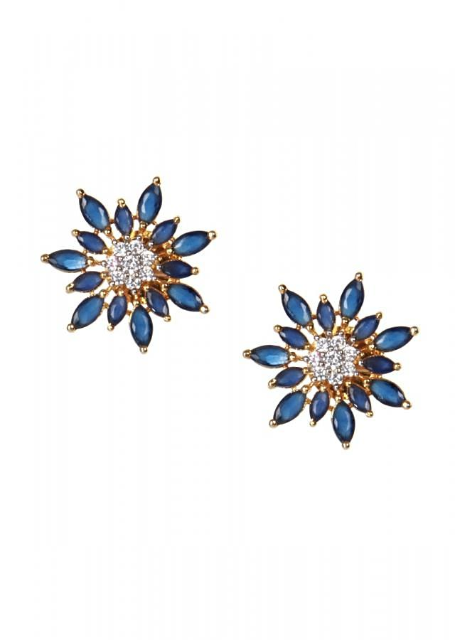 Blue and white sapphire studs only on kalki