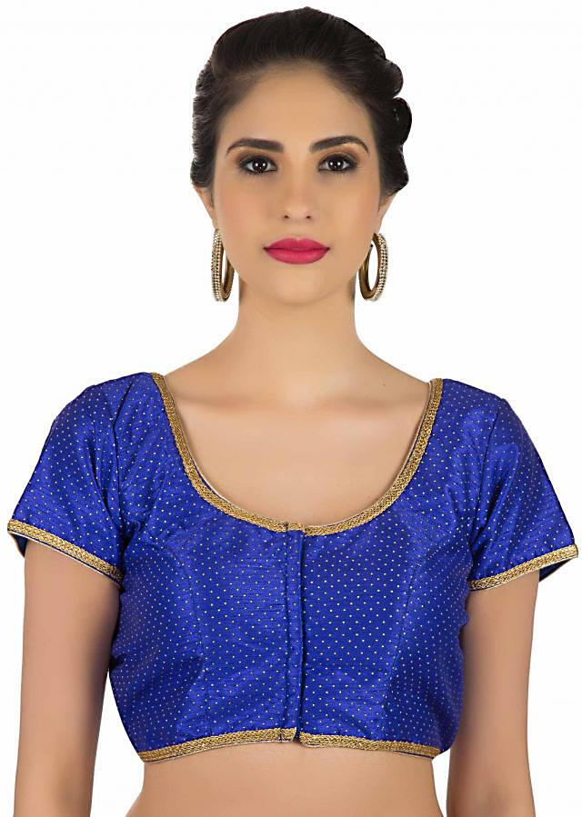 Blue blouse in silk with gold lace piping only on Kalki