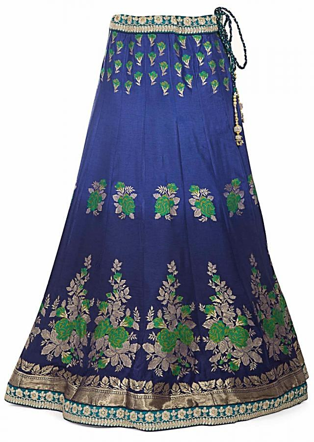 Blue Brocade Silk Lehenga Blouse and Green Dupatta Styled with Zari Lace Border only on Kalki