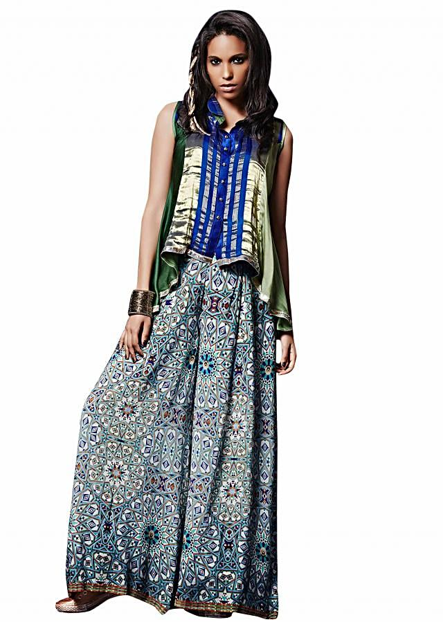 Blue, gold and green tunic matched with pleated palazzo pant only on Kalki