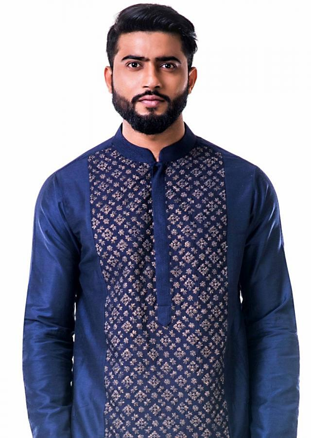 Blue gold embroidery silk kurta set only on Kalki