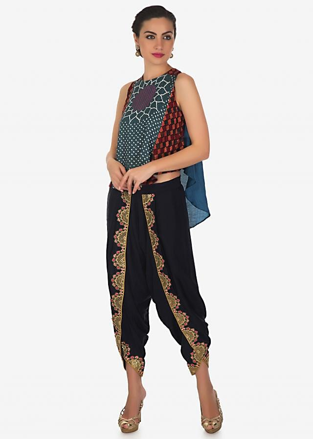 Blue grey top with front short and back long in bandhani print