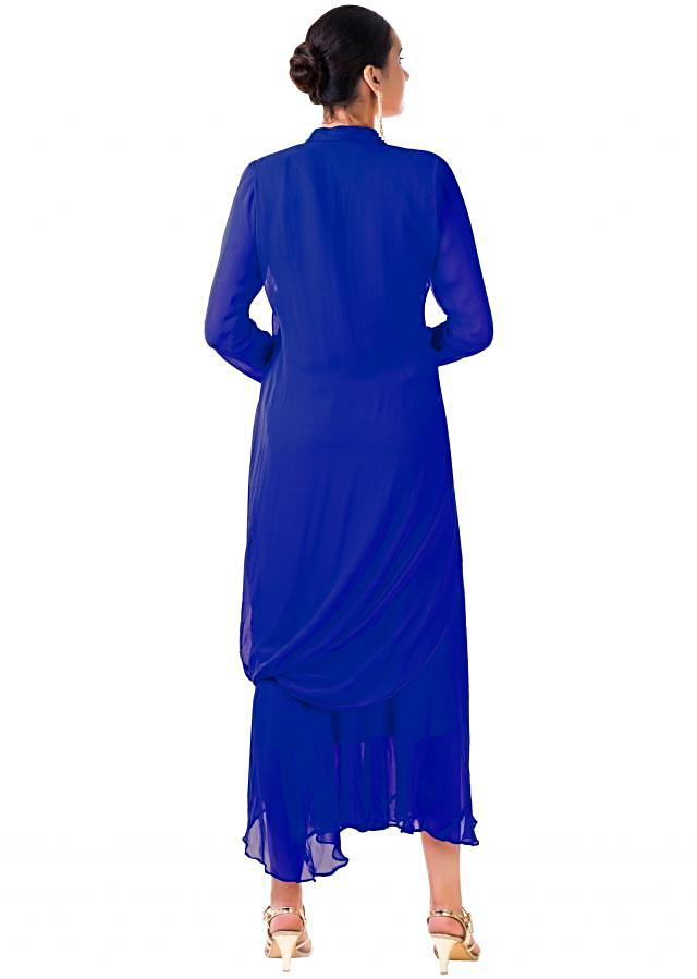 Blue Hand Embroidered Cowl Tunic Dress