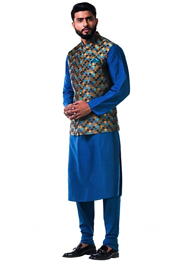 Blue katan silk kurta set with a multicolour scallop nehru jacket only on Kalki
