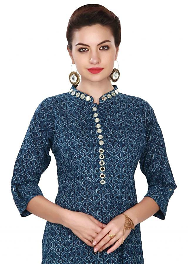 Blue kurti embellished in mirror and zari embroidery only on Kalki