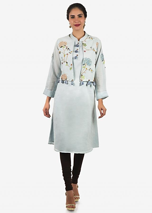 Blue kurti in cotton with fancy resham embroidered attach jacket only on Kalki