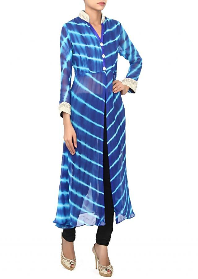 Blue leheriya kurti embellished in pearl and kundan embroidery only on Kalki