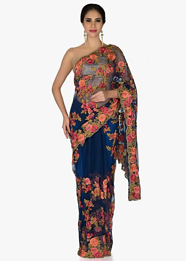 Blue Net Saree and Navy Blue Blouse with Resham Embroidered Floral Motifs only on Kalki