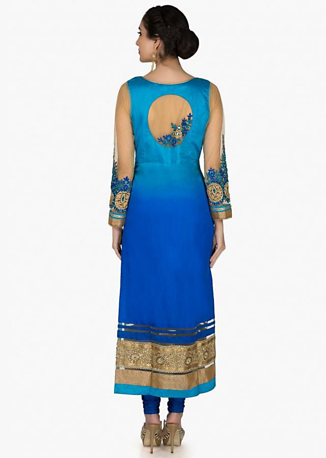 Blue shaded suit adorn in mirror and sequinembroidered yoke only on Kalki