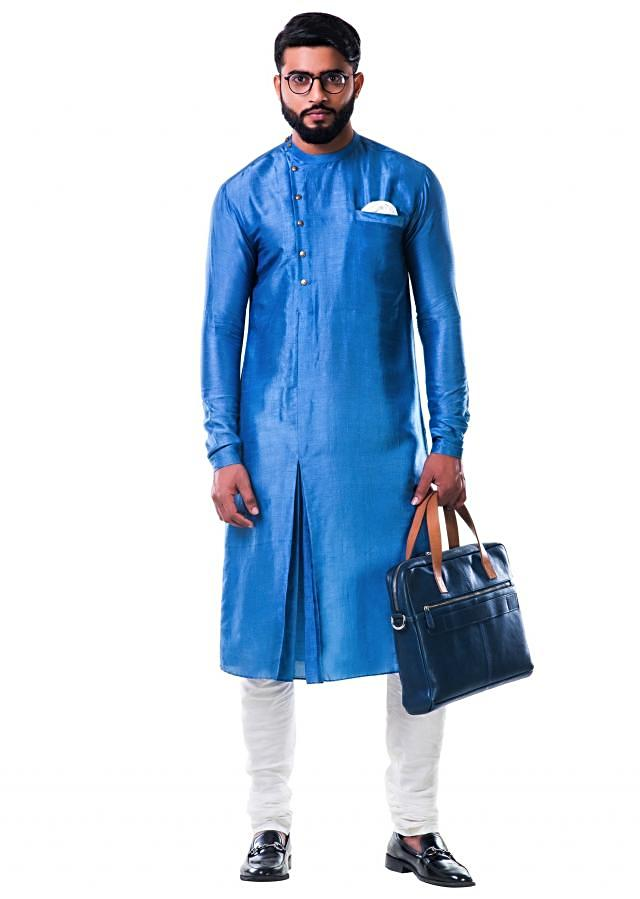Blue silk pleated kurta set with side buttons only on Kalki