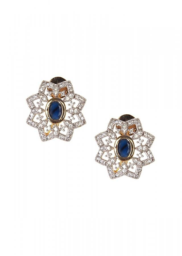 Blue stone and diamond earring in floral motif only on kalki