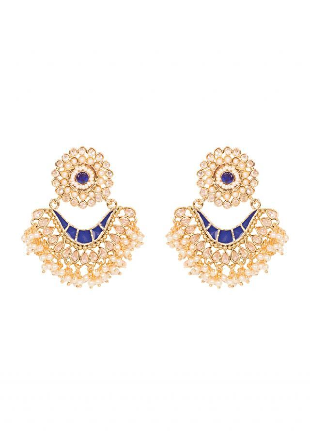 Blue Stone And Pearl Earrings only on Kalki