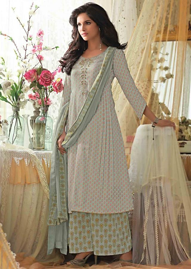 Blue unstitched printed suit with embroidered placket only on Kalki