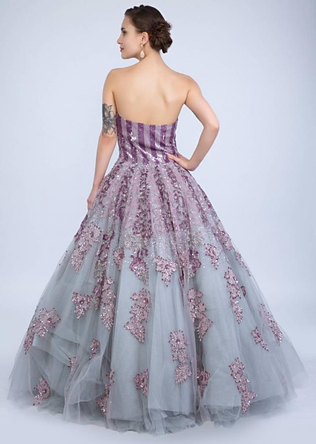 Bluish Grey Strapless Corset Style Gown With Embroidered Mauve Patch Work Online - Kalki Fashion