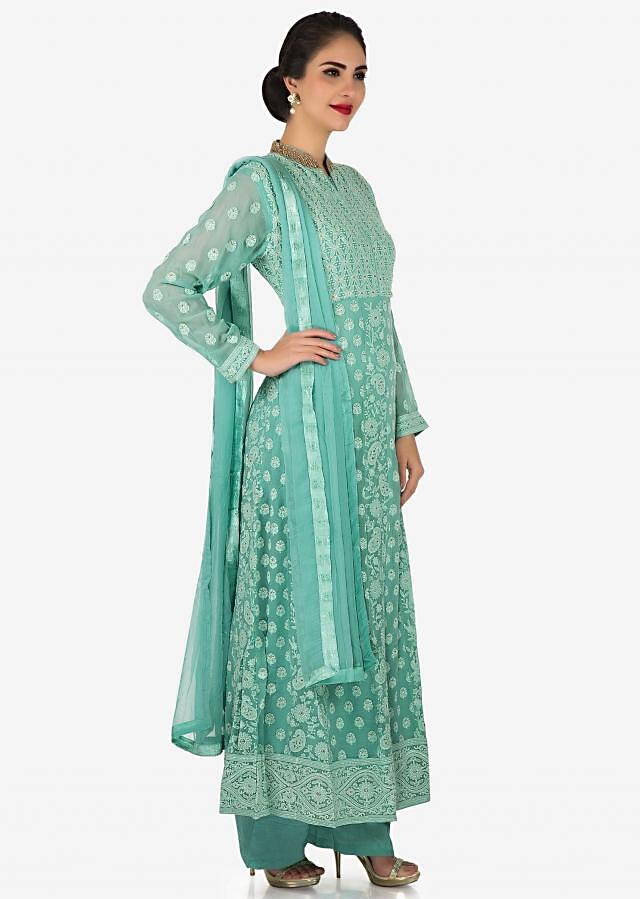 Bluish grey palazzo suit beautified with zardosi and thread work only on Kalki