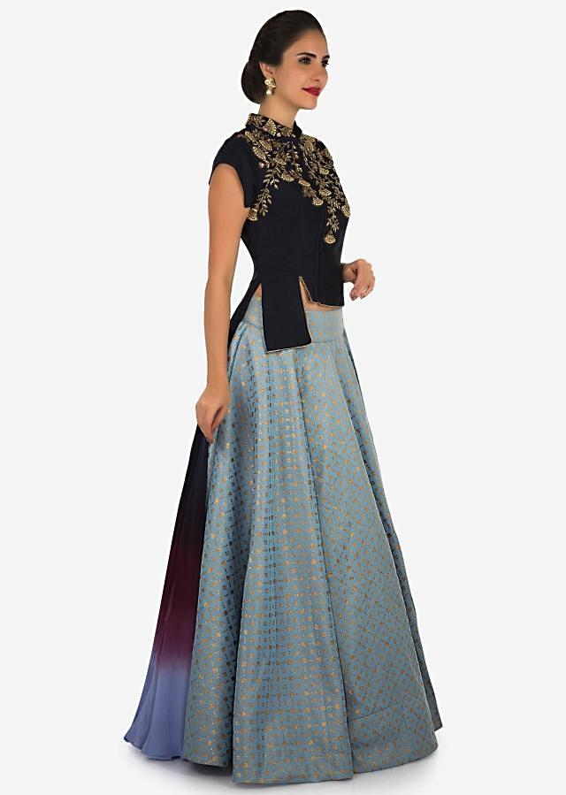 Bluish grey skirt with navy blue blouse enhanced in moti and cut dana embroidery work only on Kalki