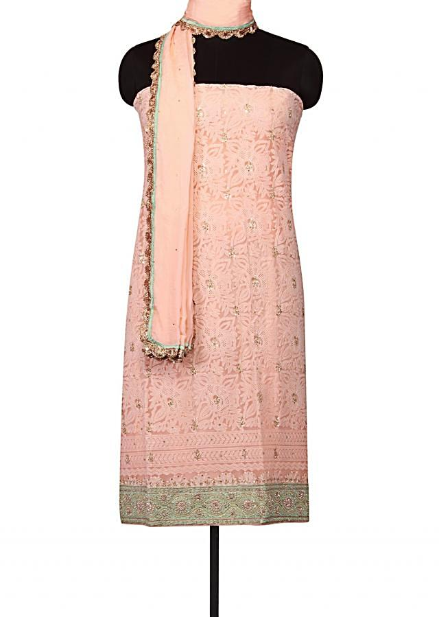 Blush peach unstitched suit lucknowi thread embroidery only on Kalki