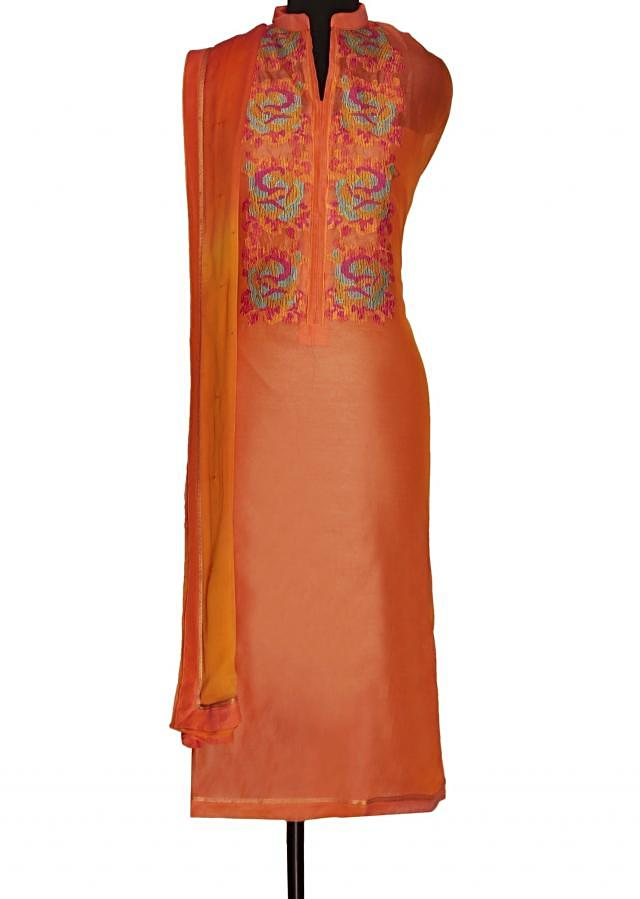 Blush peach unstitched suit with shaded dupatta only on Kalki