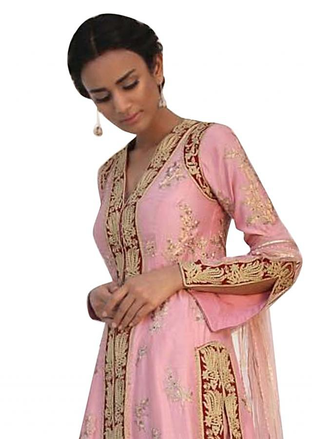 Pink embroidered suit mathced with silk sharara