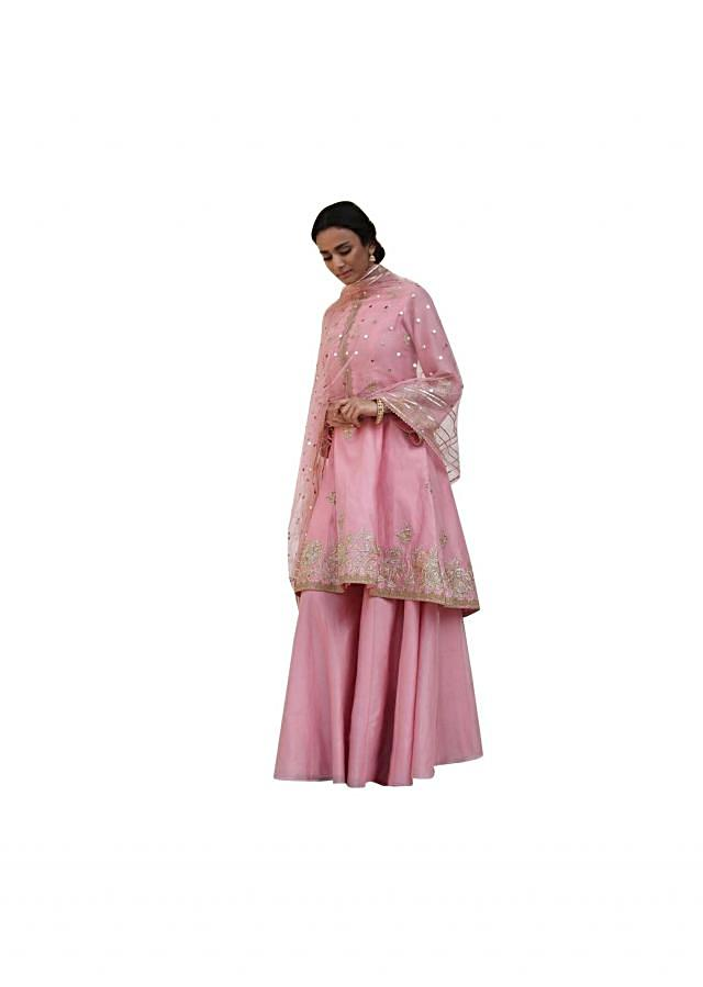 Blush pink A line embroidered suit with silk sharara