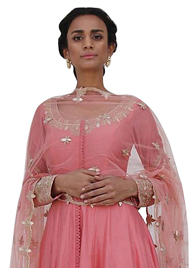 Blush pink anarkali suit in chanderi silk with farshi pants