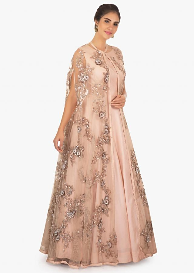 Chanderi cotton gown with cut dana, sequin only on kalki