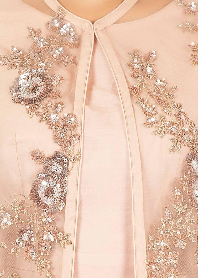 Blush pink chanderi cotton gown with cut dana, sequin only on Kalki