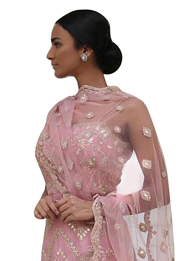 Blush pink chanderi suit in gotta embroidery