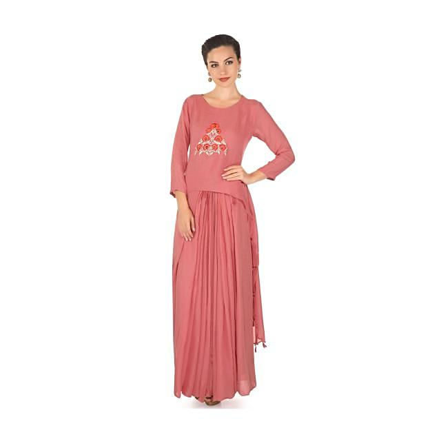 Blush pink cotton dress embellished in resham and zari  work only on kalki