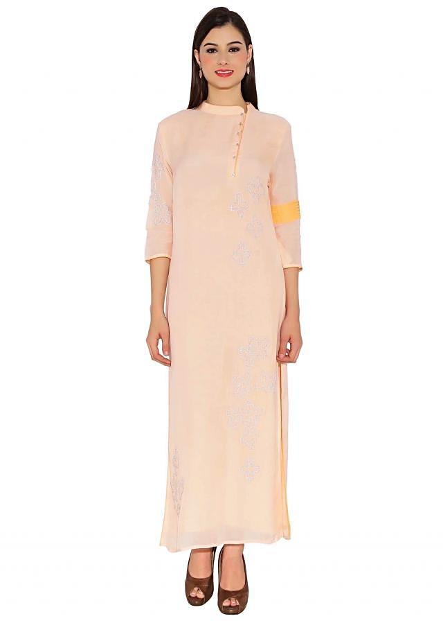 Blush Pink Cotton Kurti With Side Collar And Buttons And Elegant Embeidery In Front Designer Only On Kalki